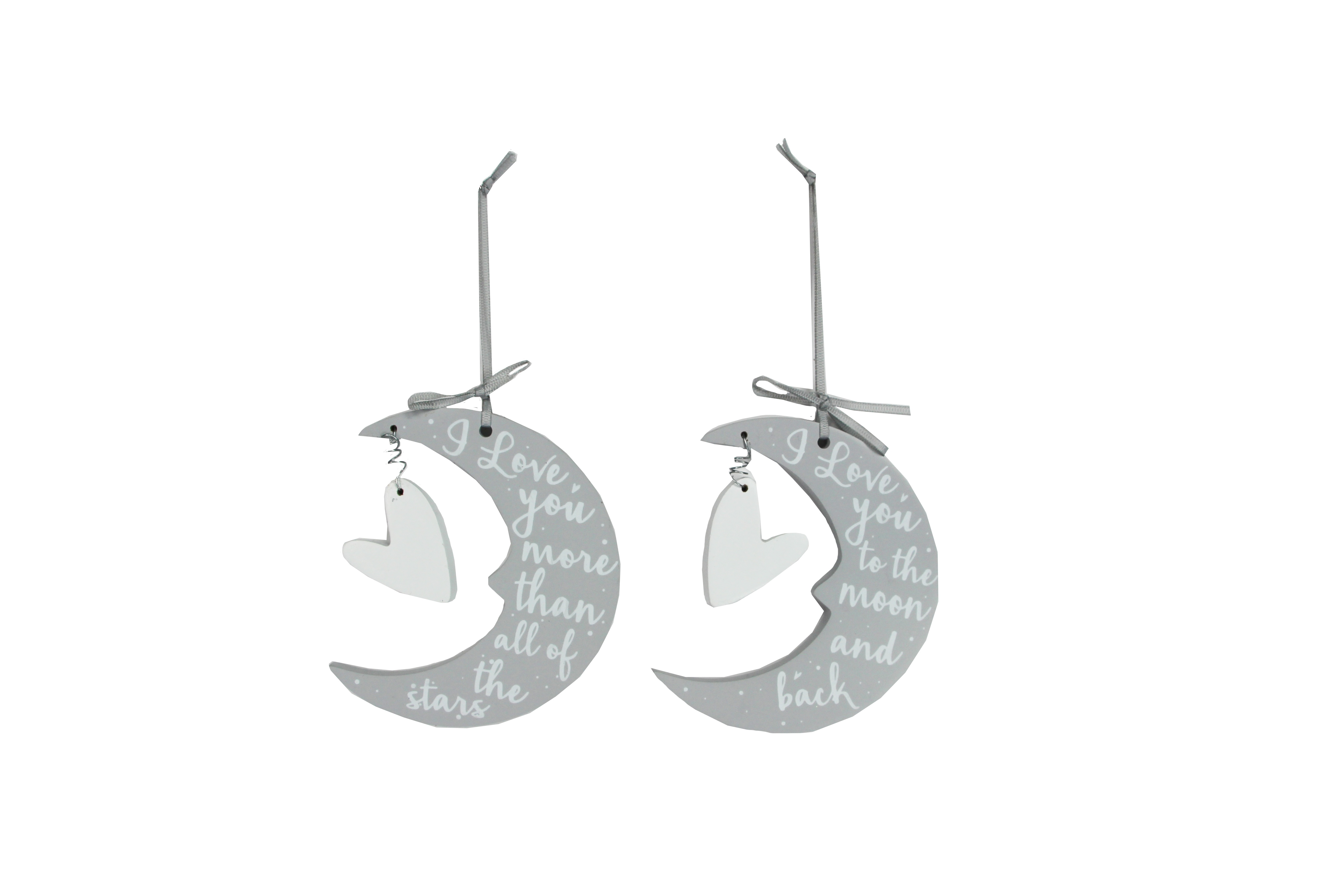 Grey Wood I Love You More Moon Stars Hanging Decoration